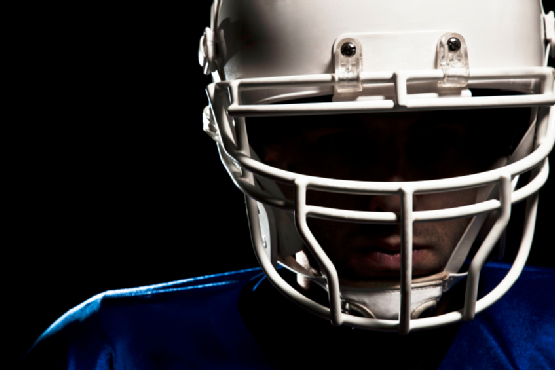 Football helmet closeup