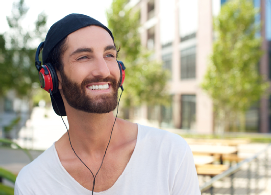 Happy man with headphones